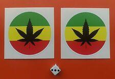 X 2 Rastafarian Pegatinas 80mm ronda tintas Eco Solvente de resistente a la decoloración