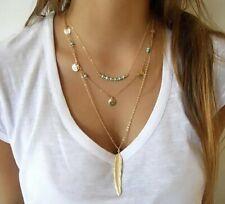 Fashion Charm Jewelry Pendant Chain Long Gold Bib Boho Choker Statement Necklace