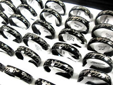 20x LORD THE RINGS 6mm Black Stainless Steel rings Men Women Fashion Jewerly lot