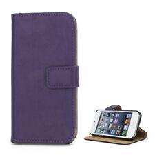 Wallet Case Tasche Echt Leder Hülle Klapp Etui Lila für Apple iPhone SE 5 5S