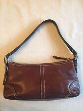 Coach Dark Brown Leather Hampton East West  Demi F11195 Shoulder Evening Bag