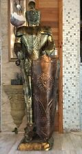 New Vintage Antique Knight Statue Life Size Aluminum Knight w Knife Sword Decor