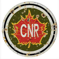 Aged Looking CNR Railroad Reproduction Metal Sign 14x14 Round