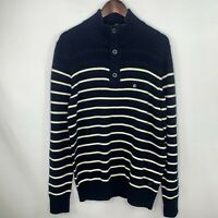 American Eagle Outfitters Mens Navy And White Stripe Mock Neck Sweater SZ L NWT
