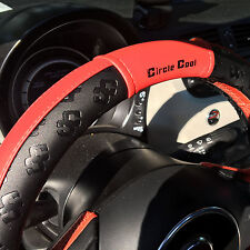 "New Black Circle Cool Red PVC Leather 51004 Steering Wheel Cover 14.5""-15"""
