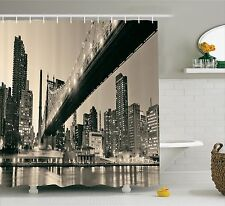Queensboro Bridge NYC Night Art Prints Sepia Shower Curtain Extra Long 84 Inch