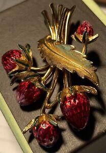 Signed Marcel Boucher vintage strawberry brooch. Gold tone and enamel