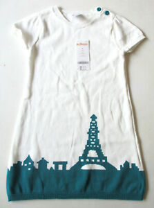 NEW Gymboree Ready Dress Go Girl's Ivory/Teal Eiffel Tower Knit Sweater Dress 4