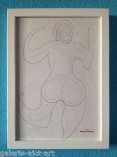Raymond TRAMEAU Dessin 1960 Encadré blanc Modigliani Érotique Nue Arp Organique
