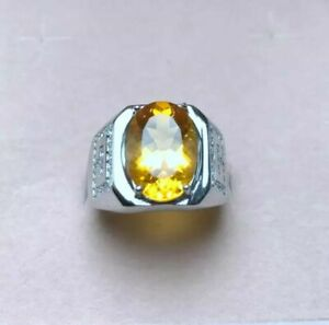 Natural Citrine Gemstone 14K Solid White Gold Men's Ring Jewelry #6750