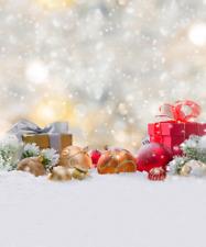 CHRISTMAS PRESENTS BAUBLES SPARKLE LIGHTS BACKDROP VINYL PHOTO 5X7FT 150x220CM