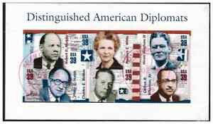 United States, 4076, USED, 2006, 39c Modern American Diplomats, SS of 6 Stamps