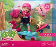 Barbie Kelly Doll Lets Go Kelly Skateboard & Puppy 2007 New