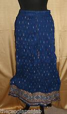 Maxiröcke Rock Baumwolle S/ M 90 cm Gecrasht Blau Muster Handarbeit Bodenlang