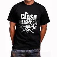 THE CLASH JAPANESE TOUR SKULL TEXT Mens Black T-Shirt Size S-3XL ROCK//PUNK/ICON