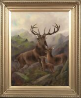 Huge 19th Scottish Stag Hind & Fawn Highlands Landscape ROBERT CLEMINSON