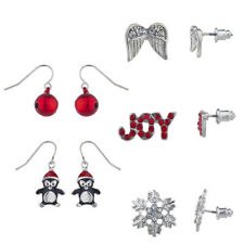 Xmas Novelty Multi Earring Set 5Pc Lux Accessories Silver Tone Christmas Holiday