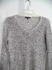 Women EILEEN FISHER 100% Cotton White Gray Long Sleeve Knit Sweater Blouse Small