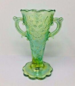 Mosser Green Iridescent Glass Bud Vase Carnival Glass Style
