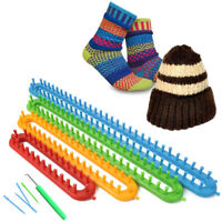 Set Of 4 Knitting Loom Long Ring Knitter Craft Set For Sock Scarf Hat Sweater