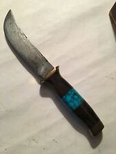 Custom Cable Damascus Hunting Knife-Turquoise,Hardwood,woodbox-made in USA-sharp