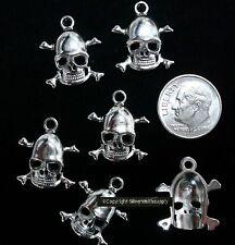6 Skull and cross bones charms pendant earring findings white gold plated fpb063