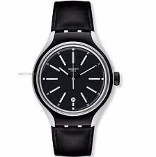 Swatch Men's YES4003 Irony Analog Display Swiss Quartz Aluminum Black Watch