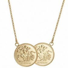 """Full Sovereign Necklace Solid Sterling Silver Yellow Gold Plated Pendant 17 """""""