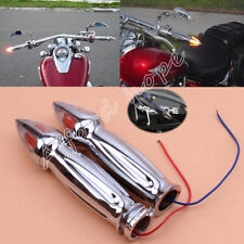 "Chrome Motorcycle 1"" Handlebar Hand Grips + Turn Signal Amber Light for Harley"