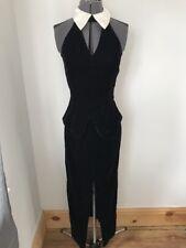 "Vintage Jessica Mcclintock Gunne Sax Black Velvet Dress W Cuello Talla 10 34"""
