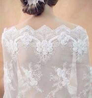 1 yard Lace Fabric Bride Wedding Flower Embroidered Tulle Fabric Lace Mesh