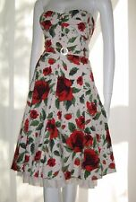 Karen Millen 50s white Full skirt corset red roses floral print dress size 10
