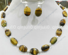 Natural Tigers eye oval gems&true white cultured pearl necklace earrings set