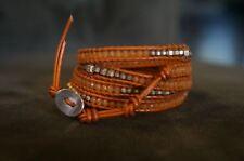 NEW Chan Luu Orange Jade Semi Precious Stone & Strlng Silver Mix 5 Wrap Bracelet