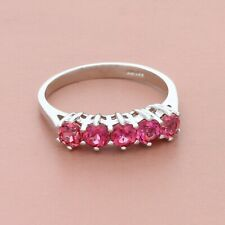 blushed 14k white gold round-cut pink tourmaline ring size 5.75
