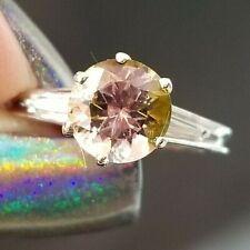 1.74TCW Pink Green Round Tourmaline Diamond Platinum ring SZ 4.5