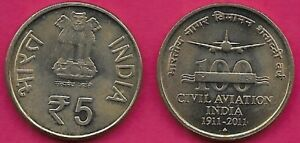 INDIA REP 5 RUPEES 2011-B UNC 100 YEARS OF CIVIL AVIATION 1911-2011,Obverse:Asok