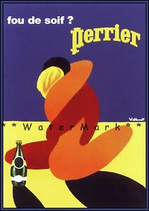 Perrier 1980 Lovers Embrace Vintage Poster Print Retro Style Art Wall Decoration