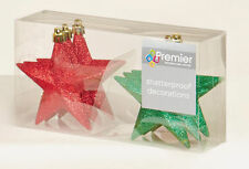 12 x Red Green Mix Glitter Stars shatterproof Christmas tree Baubles Decorations