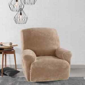 NEW sure fit Stretch Plush SABLE  Recliner chair Slipcover chocolate faux mink