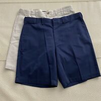 "*LOT OF 2* Lands' End 36 x 9"" 100% Cotton Flat Front Casual Shorts"
