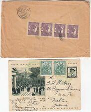 CZECHOSLOVAKIA 1920 reg cover to EGYPT, & 1937 postal card to DUBLIN IRELAND
