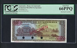 Guatemala 1/2 Quetzal ND(1964-1972) P51s Specimen TDLR N2 Uncirculated  Grade 66