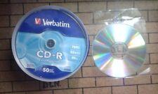 100 CD-R VERBATIM VERGINI 52X 700MB CDR+100 BUSTINE X AUDIO DATI VIDEO GAMES