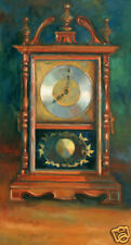 "Antique Mantle Wooden Clock 48 x24"" in. Oil on canvas  Hall Groat II"