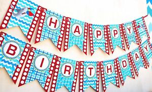 Shark Party Happy Birthday Banner Pool Party Pennant