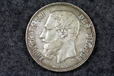 New listing 1875 Belgium Leopold Ii 5 Franc Silver Coin! #H2844