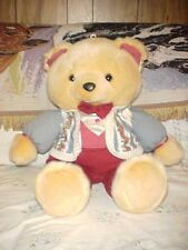 "1991 K-Mart Christmas Teddy Bear Male Burgandy Pants Vest Tags Rare 23"""