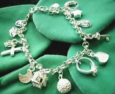 925 Silver Plated 13 Charms Bracelet - UK SELLER -