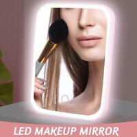 LED Touch Screen Makeup Mirror Desktop Cosmetics Lighting Mirror USB Adjustable